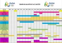 Calendrier des JO de Rio 2016
